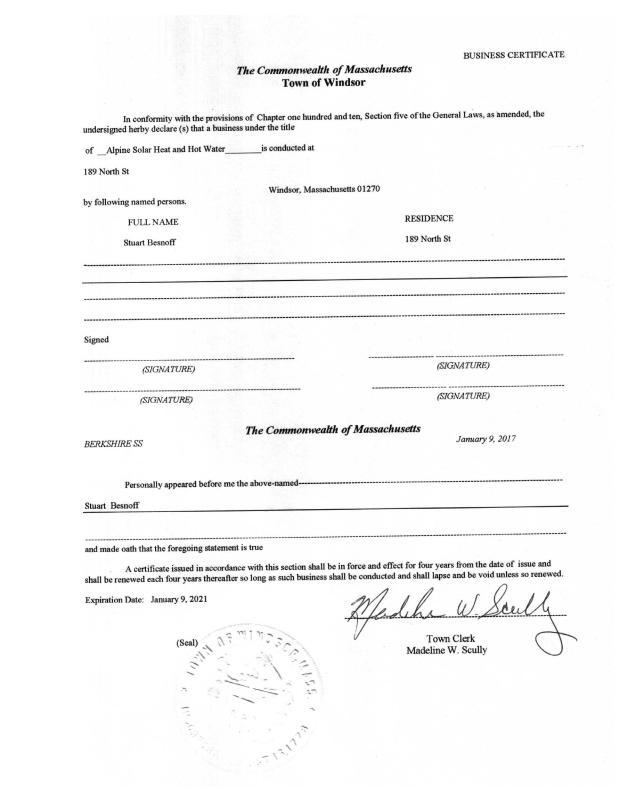 Business Certificate